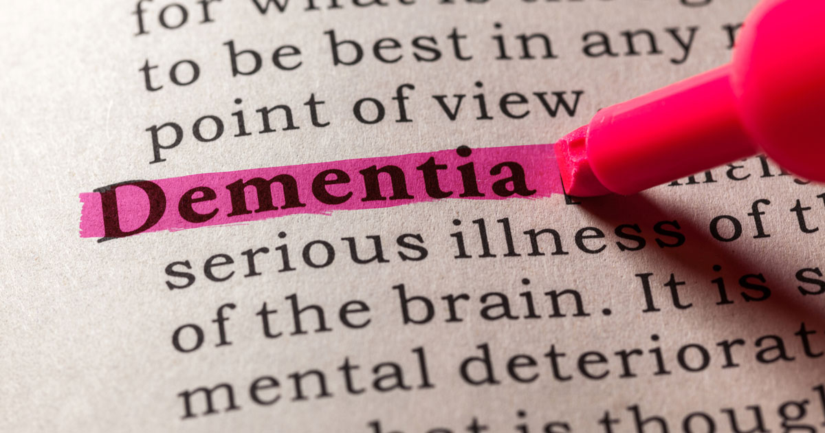 "The word ""dementia"" is highlighted"